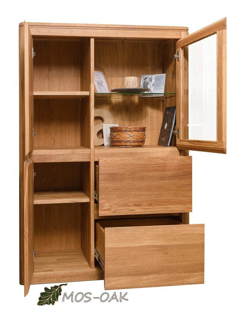 Шкаф с витриной Лозанна-2 Люкс из массива дуба с брашировкой