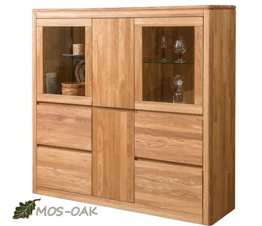 Шкаф с витриной Лозанна-3 Люкс из массива дуба с брашировкой