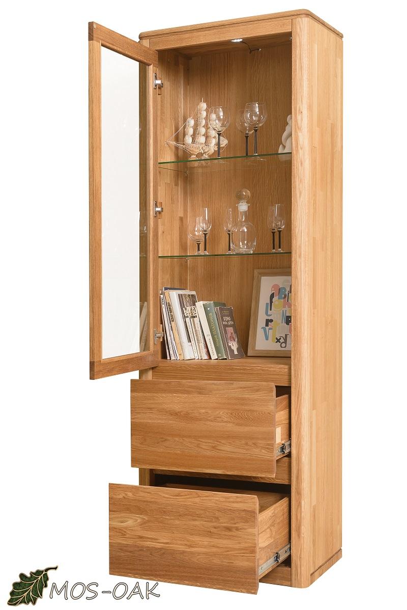Шкаф с витриной Лозанна-1 Люкс из массива дуба с брашировкой