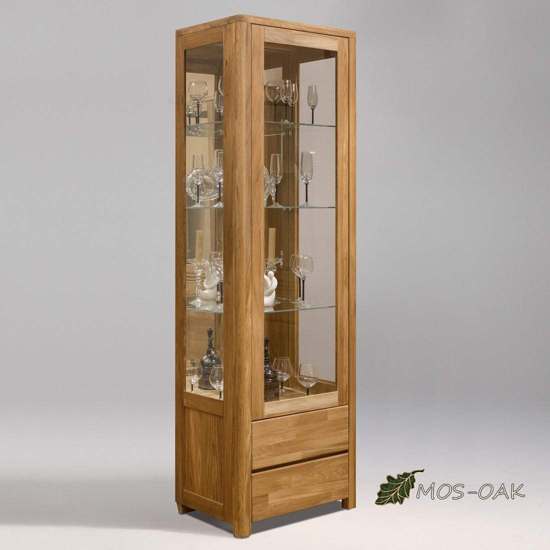 Шкаф с витриной Лозанна-1С из массива дуба