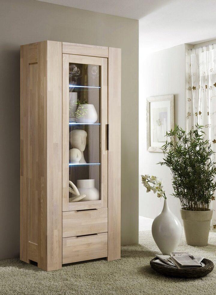 Шкаф с витриной Фьорд-1 из массива дуба