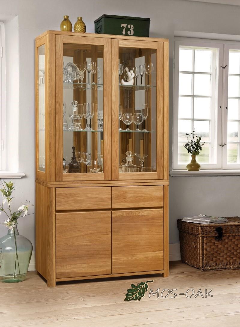 Шкаф-витрина комбинированный Лозанна 2 из массива дуба
