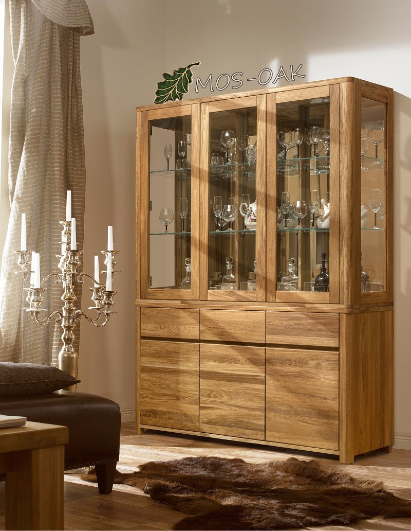 Шкаф-витрина комбинированный Лозанна-3 из массива дуба