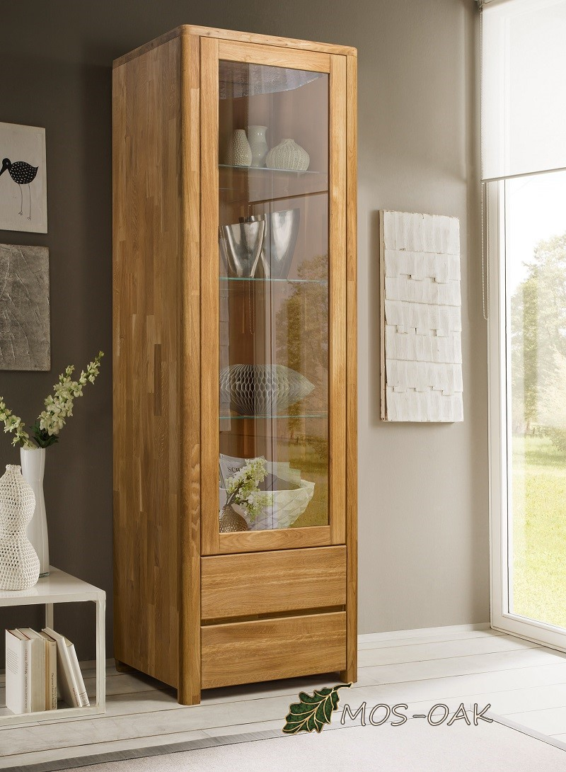 Шкаф с витриной Лозанна-1 из массива дуба
