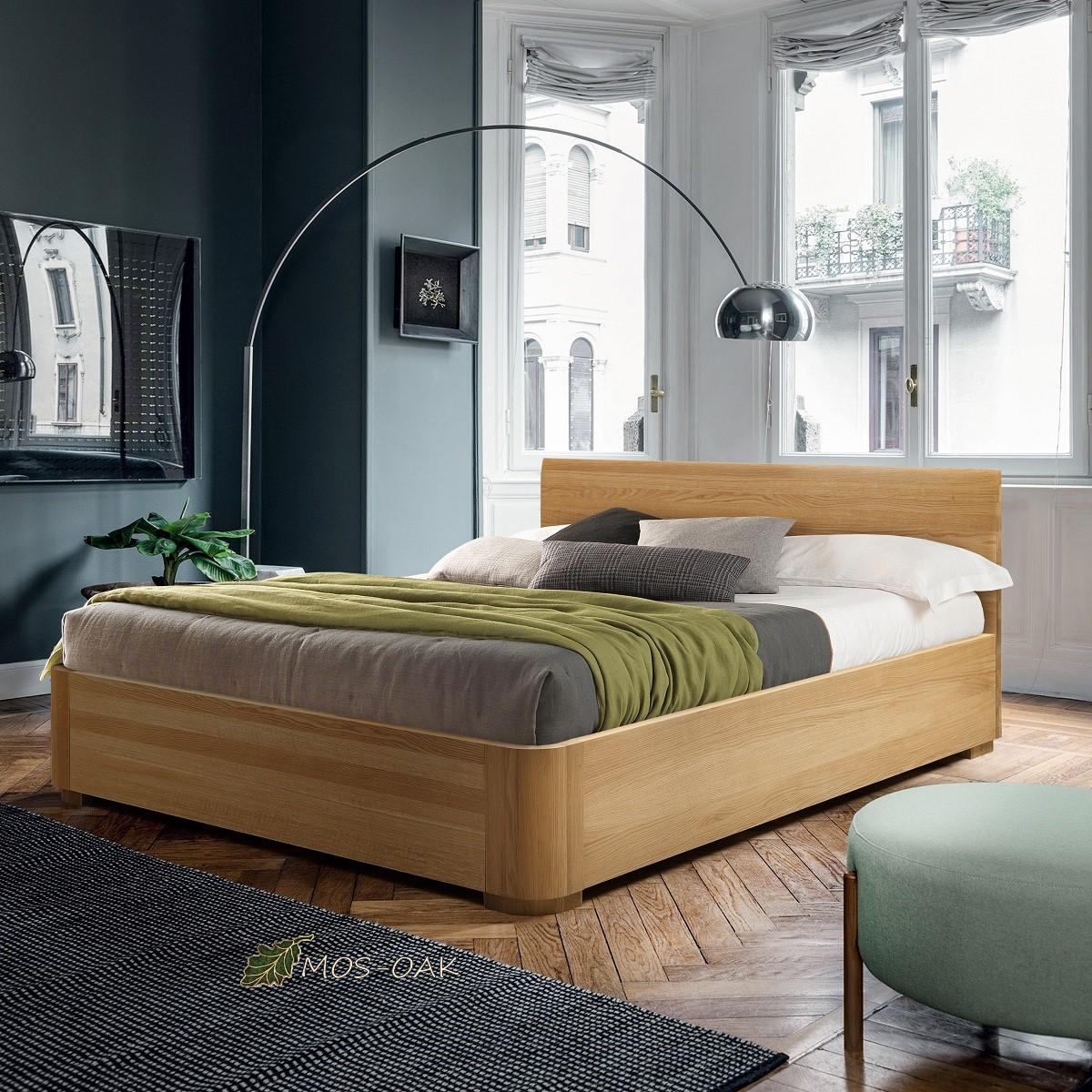 Кровать Лозанна из массива дуба с нишей для белья