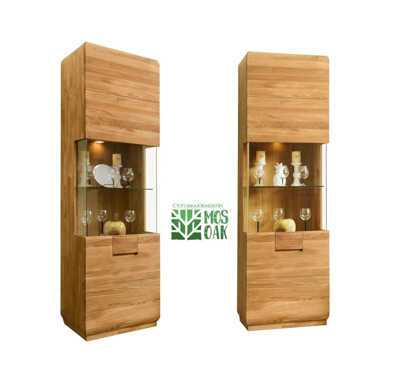 Шкаф с витриной Faina-1 из массива дуба